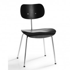 SE68 CHAIR, BLACK, CHROME FRAME, PLEASE WAITED TO BE SEATED