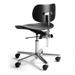 S197R OFFICE CHAIR, BLACK, CHROME, PLEASE WAIT TO BE SEATED