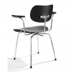 SE68 ARMCHAIR, BLACK, CHROME FRAME, PLEASE WAIT TO BE SEATED