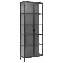 BLACK CABINET, 2 DOORS, IRON/GRASS, NORDAL