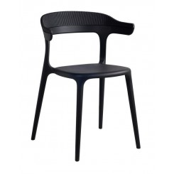 DINING CHAIR LUNA STRIPE, BLACK, MUUBS