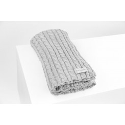 CABLE KNIT BLANKET, HEATHER, MAX-BONE