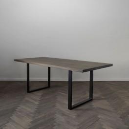 TABLE OAK, DARK FINISH, METAL BEN